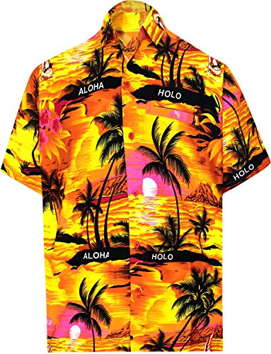 LA LEELA Herren Hawaiihemd Kurzarm Button Down Kragen Fronttasche Strand Hemd Urlaub Casual Herren Aloha Orange_290 5XL