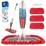 Spray Mop,Aiglam Floor Mop, 550ml Microfibre Mop with 3 Free Reusable Microfiber Pads Multi Mop with Refillable Bottle for Hardwood Floor, Wood, Laminate (Red)