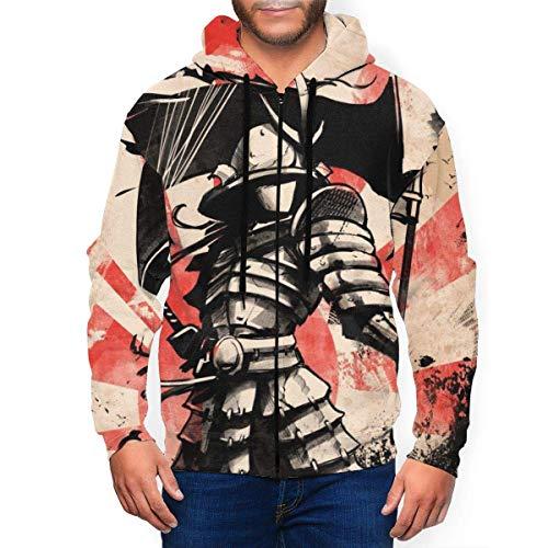 Hangdachang Sudadera con capucha con capucha y cremallera para hombre con soldado samurai japons con bandera