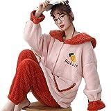HUANXA Pijamas Mujer Invierno Coral Polar Otoño E Invierno Engrosamiento Invierno Más Terciopelo Lindo Invierno Franela Peluda-SG-C