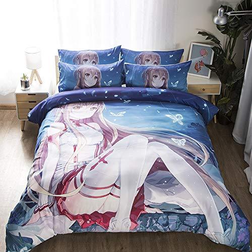 YUBAIBA Sword Art Online: Yuuki Asuna, 3D Großer Anime Bettbezug Pillowcase, Anime-Fan-House-Geschenk, 3D Große Anime Bettbezug Kissen, Bettwäsche, Best Größe : AU Single (140 * 210cm)
