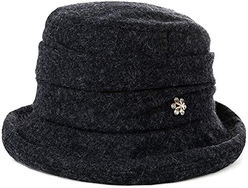 PANZZ Ladies Wool Cloche Hat for Women Winter Bucket Round Hat Vintage Derby Party Bowler Soft Crushable,16060_BlackGrey,M