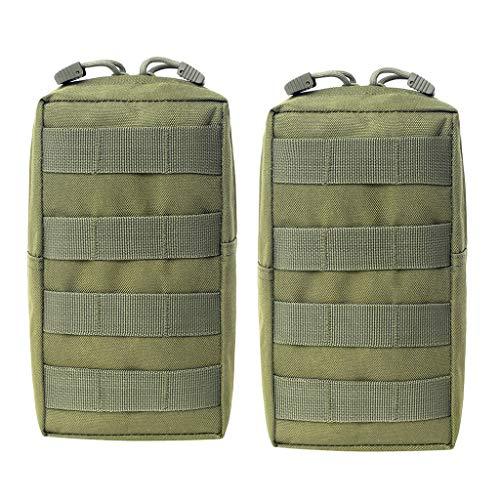 Milageto Paquete de 2 Bolsas de Equipo MOLLE, Pequeñas Bolsas Tácticas, Accesorios para Bolsas de Combate - Verde