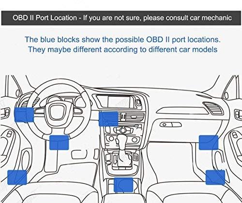 CoCar OBD2 DVR Dashcam Ladekabel Mini USB Adapter mit Schalter, 16 Pin OBDII Auto/Fahrzeug direkt zur Batterie/ Festverkabeltes Kabel Autoladegerät für PDA Handy GPS Tablette – 3M/11.5FT Draht – DC12-24V zu 5V - 5