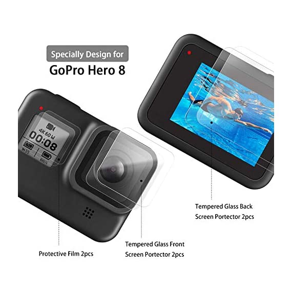 [6pcs] FINEST+ Screen Protector for GoPro Hero 8 Black Tempered Glass Screen Protector + Tempered Glass Lens Protector… 7 【Secifically Design】 Compatible with GoPro Hero 8.Black action camera Only. 【High-Transparency】It provides you high-definition clear viewing. Hydrophobic Oleophobic screen coating protects your camera screen against sweat and oil residue from fingerprints and keeps high-sensitivity touch response. 【9H hardness】 Our Tempered Glass has 9H hardness. It protects the camera screen from high impact drops, scratches, scrapes, and bumps. It also keeps away the camera screen from sharp objects such as keys and knives, etc.