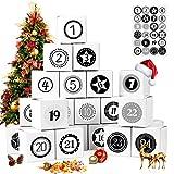 Adventskalender zum Befüllen, 24 Adventskalender Geschenkbox, mit Zahlenaufklebern, für...