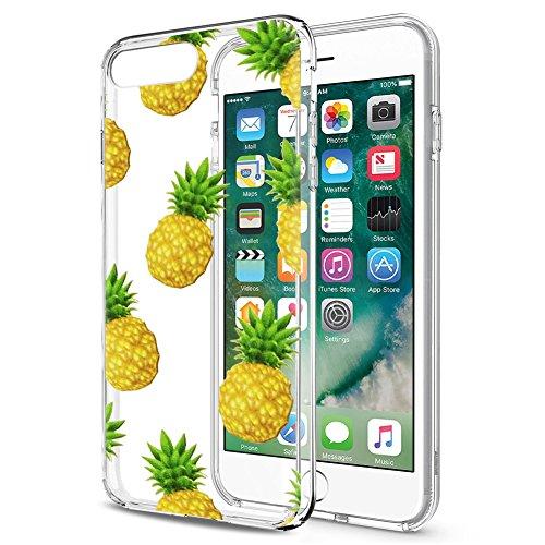 Eouine Cover iPhone SE / 5s / 5, Ultra Slim Cover Trasparente con Disegni, Morbido Antiurto 3d Cartoon Gel Custodia Bumper Case in TPU Silicone per Apple iPhone SE / 5s / 5 (Ananas)