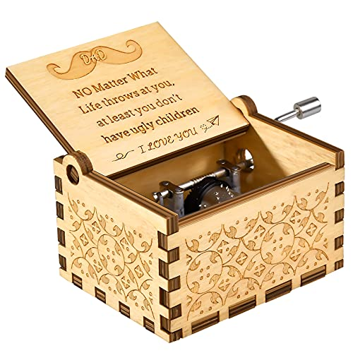 OEAGO Fathers Day Dad Gifts for Dad Men from Daughter Son,You are My Sunshine Music Box-Laser Engraved Vintage Wooden Music Box,Unique Best Gifts for Birthday,Thanksgiving,Christmas Stocking Stuffers
