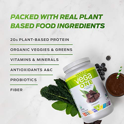 Vega One Organic Meal Replacement Plant Based Protein Powder, Chocolate - Vegan, Vegetarian, Gluten Free, Dairy Free with Vitamins, Minerals, Antioxidants and Probiotics (17 Servings, 1.56 lbs)