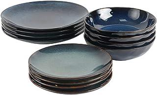 ProCook Vaasa - Service de Table en Grès - Set 12 Pièces/Pour 4 Personnes - Petite Assiette, Grande Assiette & Assiette Cr...