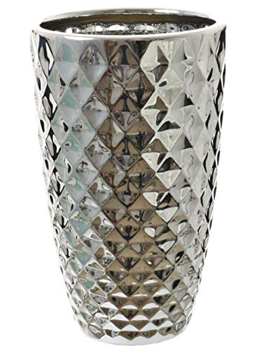 Große Vase mit Ananas-Optik, verchromt, geometrisch, silberfarben