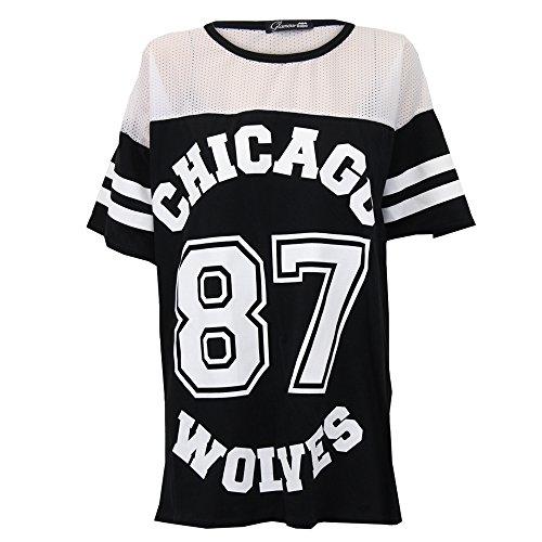 N / A - Damen Baseball Top T-Shirt 'CHICAGO 87 WOLVES' Aufdruck Netz Uni Shirt IC87 - Schwarz / Weiß - NICHIC87, M/L