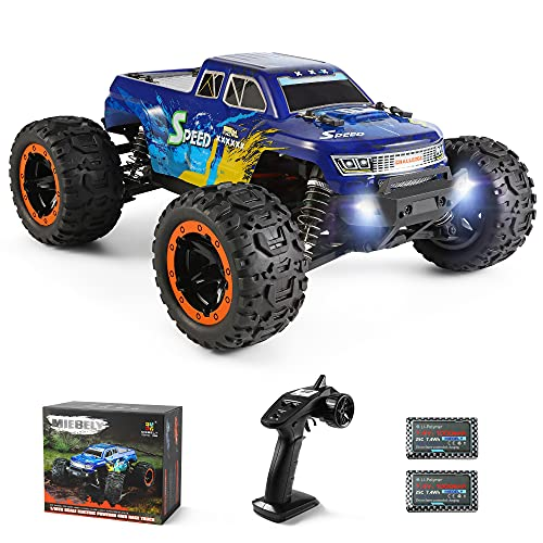 MIEBELY RC Cars 4x4 Remote Control Car for Adults and Kids 1:16 Scale Electric Powered 40KM/H High Speed 4WD All Terrain Off Road RC Monster Truck 2.4GHz Toys Vehicles with 2 Rechargeable Batteries