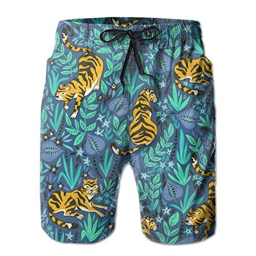 Tigres Tropical Jungle Hombre Bañador Surf Tabla de Secado Rápido Shorts de Playa Cordón Cintura Elástica con Bolsillos XL ✅