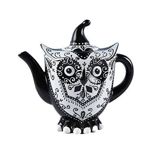 Doramie Ceramic Tea Pot DecorativeUnique Hand Painted Owl Tea PotKitchen Decor Table Decor Porcelain Tea Coffee Teaware 40 Ounce1200ml Water Pot Black