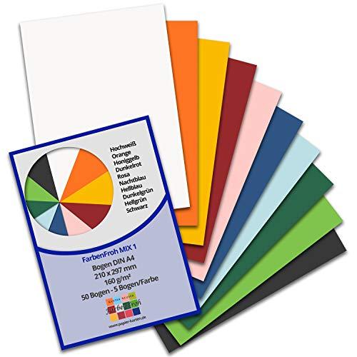 50 DIN A4 Papier-bögen Farbenmix-Paket 1 - Planobogen - 10 Farben - 160 g/m² - 21 x 29,7 cm - Bastelbogen Ton-Papier Fotokarton Bastel-Papier Ton-Karton - FarbenFroh