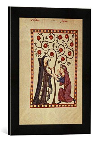 Gerahmtes Bild von 13. Jahrhundert von Obernburg/Codex Manesse, Kunstdruck im hochwertigen handgefertigten Bilder-Rahmen, 30x40 cm, Schwarz matt