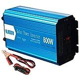 Inversor de corriente de 800W DC 12V 24V a 110V 220V AC Convertidor Inversor de energía de onda sinusoidal pura con encendedor de cigarrillos - Adaptador de enchufes de CA y pantalla LCD, 24V a 110V