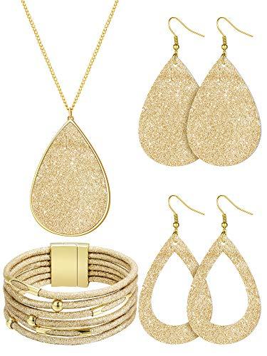 4 Pieces Women's Glitter Jewelry Set Bridal Wedding Multi-Layer Bracelet Faux Leather Dangle Earrings Necklace (Gold)