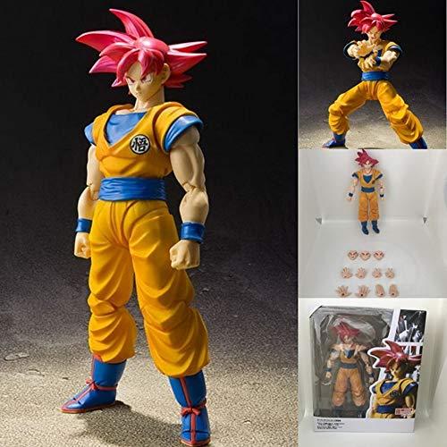XUEKUN Dragón Rojo De La Bola De Pelo-Hijo Figura De Acción De Goku 16cm-Super Race Dios-Super Saiyan-Goku Estatua Móvil Articulaciones-Personajes Animados Juegos De Construcción Son Goku