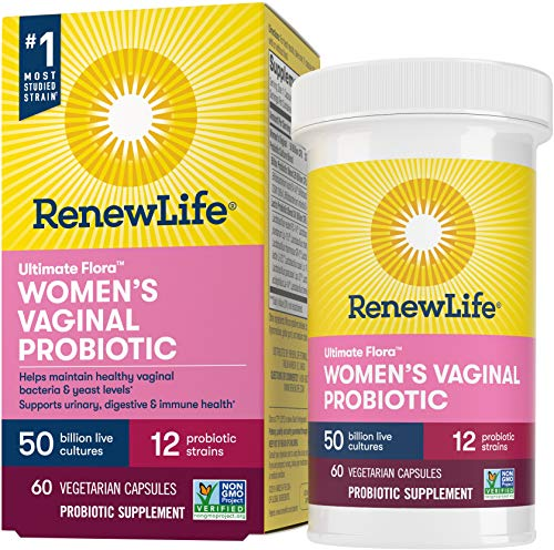 Renew Life Women's Probiotic 50 Billion CFU Guaranteed, Probiotics for Women, 12 Strains, Shelf Stable, Gluten Dairy & Soy Free, 60 Capsules, Ultimate Flora Women's Vaginal-60 Day Money Back Guarantee