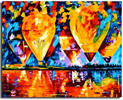 MBYWQ Verf Door Aantal Diy Woonkamer Slaapkamer Karakter Landschap Anime Abstract Kunst Kleurplaten Handgeschilderd Digitaal Schilderen Hot Air Balloon(Zonder Framed)