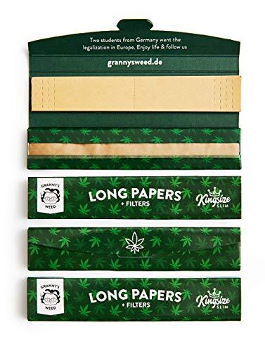 Granny's Organic Long Papers extra Slim aus Hanfpapier mit Filtertips   4 Stück   King Size   ungebleicht