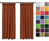 Rollmayer Vorhänge mit Bleistift Kollektion Vivid (Terakotta 7, 135x175 cm - BxH) Blickdicht Uni einfarbig Gardinen Schal für Schlafzimmer Kinderzimmer Wohnzimmer