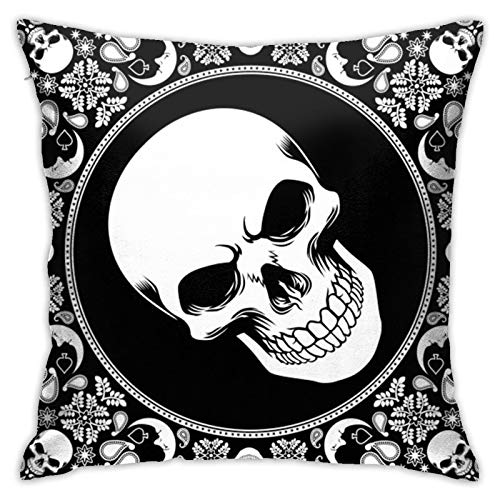 PEARL ANTINO Bandana-Pattern-with-skul Modern Decorative Square Pillowcase Cushion Throw Pillow for Sofa Bedroom car Home Decoration