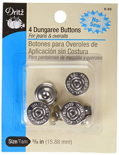 Dritz 9-65 No-Sew Dungaree Buttons, Nickel, 5/8-Inch 4-Count