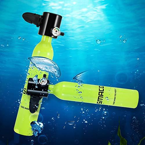 WOTR Mini-Sauerstoffflasche, Ausrüstung für Tauchflaschen, Tragbarer Sauerstoffflaschenadapter 0,5 l für Unterwassertauchen Atmetraining