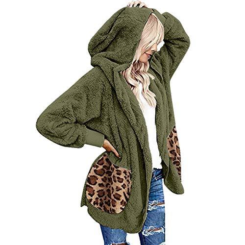 Dicomi - Felpa da donna con cappuccio, casual, leopardato, con cappuccio verde militare M