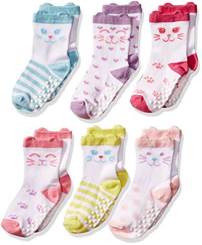 Calcetines Jefferies para niña de tamaño pequeño, antideslizantes, 6 pares