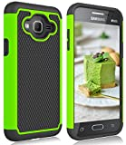 Galaxy Sky Case, Galaxy J3 2016/J3 V Case, Galaxy Express/Amp Case, Galaxy Sol Case, Zectoo Hybrid Dual Layer Shockproof Armor Defender Rugged Rubber Plastic Phone Case Cover - Green