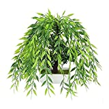 jbshop Bonsai Plant Árbol de Bonsai Artificial en Blanco Pote de plástico Pot sobre Potted Potted Potted Decoración, Plástico, Siempre Verde, 11'L × 10.2' H Fake Plant Decoration Plantas