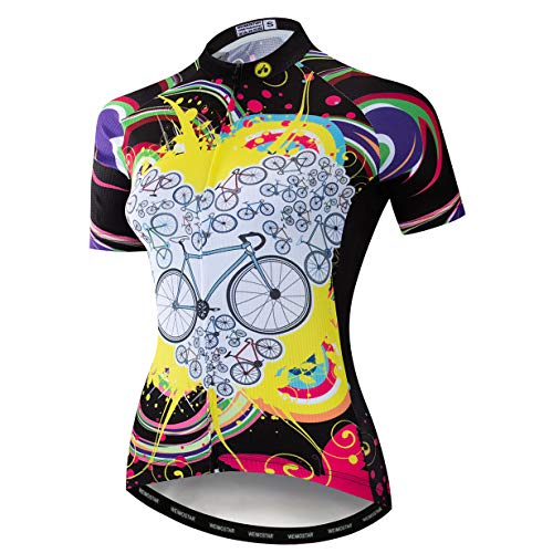 weimostar Bike jersey Women's Cycling jersey zip Shirts short sleeve Mountain Road Bicycle clothing Quick dry breathable Pro team racing MTB Tops for ladies female summer black Size XL