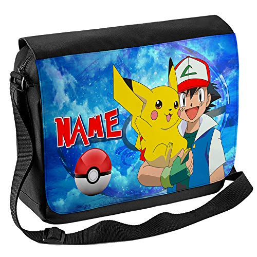 Personalised Pokemon School Shoulder Bag Travel Laptop Case Messenger Ash Boys Gift PK01