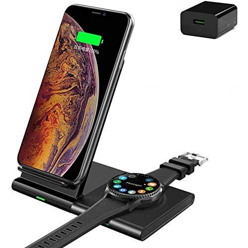 Cargador inalámbrico 3 en 1, estación de carga rápida de 10W / 7.5W para Samsung Galaxy S20 / S10 / Galaxy Watch / Buds / Gear 3 / IPhone 12/12 Pro / 12 Pro Max / 11/11 Pro / XR / XS MAX / Airpods 2