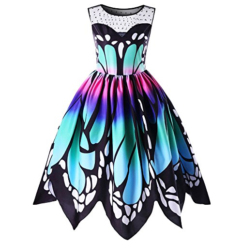 Lazzboy Womens Butterfly Printing Sleeveless Partykleid Vintage Swing Spitzenkleid(S,Mehrfarbig)