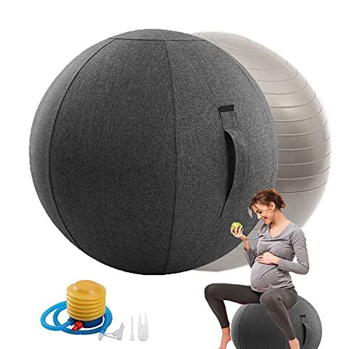 Rbanbow Pelota Pilates Embarazadas Grande, Silla Yoga 55/65/75cm, Silla Oficina Incluido Cubierta de Tela para Ejercicios Gimnasia con Hinchador para Oficina Y Hogar (Color : Gray, Size : 65CM)