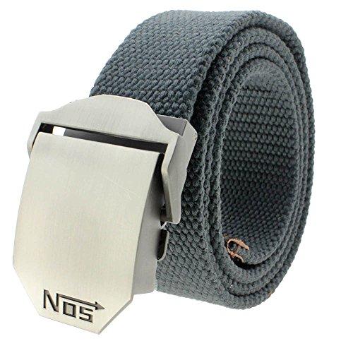VANKER Nuevo Pretina de Las Correas de Lona Hebilla automática cinturón de Cintura para Hombres Mujeres - Gris Oscuro