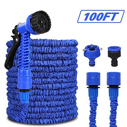 Mgrett - Manguera flexible para jardín (30 m, con 8 funciones), color azul