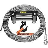 Winchmax Cable de acero de 9,5 mm de 26 m con rodillo y gancho táctico