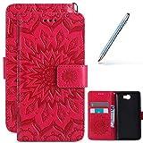 Robinsoni Estuche Compatible con Huawei Y5 II, PU Funda de Cuero con Estilo de Libro Cubierta Impreso 3D Funda Magnética para Teléfono de Huawei Y5 II, Rosa Roja