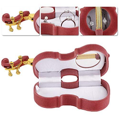 Flannel Ring Earrings Box - Novel Artful Necklace Ring Gift Box Violino em forma de brinco Medalhão Caso de armazenamento de jóias para presente (vermelho acastanhado)