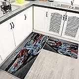 Alfombras Cocina Lavable Antideslizante Moto Cool Red, Alfombrilla de Goma Alfombra de Baño