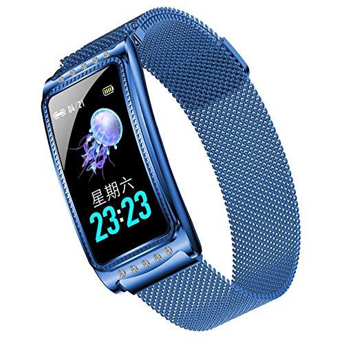 Yumanluo Fitness Tracker mit Pulsuhr,Weibliches physiologisches Armband, Herzfrequenz-Blutdruck wasserdichtes intelligentes Armband-Blau,Smart Watch für Damen Herren für Android iOS