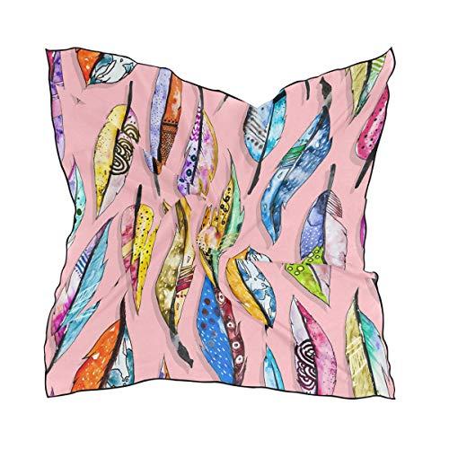 QMIN Seidenschal, quadratisch, bunte Malerei, Tierfedern, modisches Kopftuch, leicht, Haarband, ordentliche Halstuch, für Damen, 60 x 60 cm