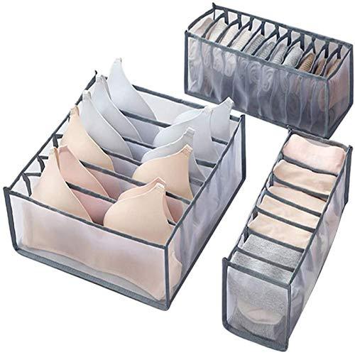 'Foldable Underwear Storage Boxes 3 Pcs/Set, Drawer Organiser Nylon Divider Box, Wardrobe Closet Home Organization Divider, with 6/7/11 lattice Cabinet Organizers use in Socks Bras Underwear Storage '