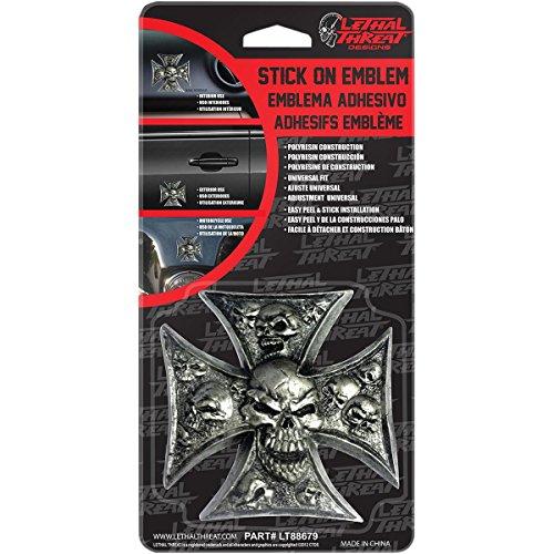 Lethal Threat LT88679 Iron Cross Skull 3D Emblem